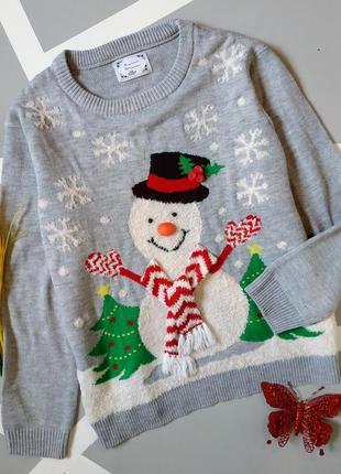 Новогодний свитер вязаный свободный с обьемными деталями новый год