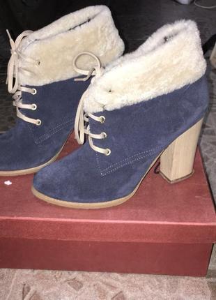 Замшевые ботинки,38-39 размер