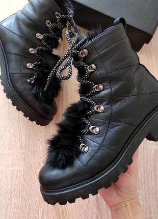 Кожаные зимние ботинки с натуральным мехом, теплые сапоги на шнуровке, натуральная кожа 38
