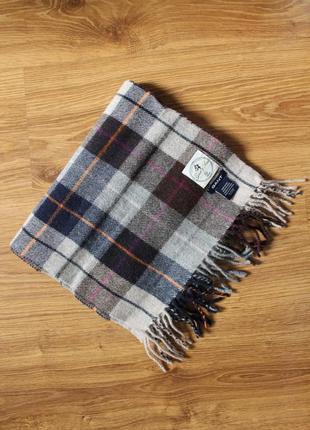 Прекрасный шерстяной шарф клетка тартан италия всемирная фирма gant унисекс