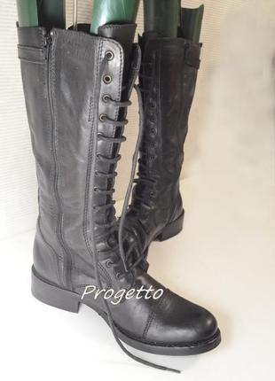 Сапоги на шнуровке  кожа/италия