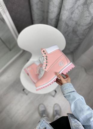 Шикарные женские зимние ботинки timberland pink termo ❄️ (термо/ без меха)
