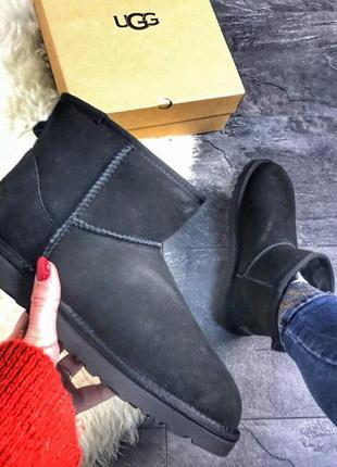 Ugg classic 2 mini black, мужские/женские зимние чёрные угги/уги с мехом, кожанные