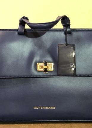 Кожаная сумка 💼 синего цвета