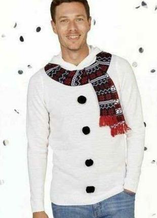Рождественский свитер с забавным принтом,снеговик.