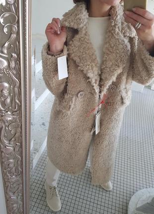 Меховое пальто шуба из стриженного меха овчины 100% шерсть