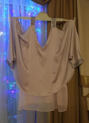 Шикарная блузка цвета пудры nude
