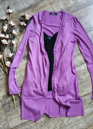 Кардиган цвета фуксии,удлиненная кофта,свитер от marks&spencer/кашемир