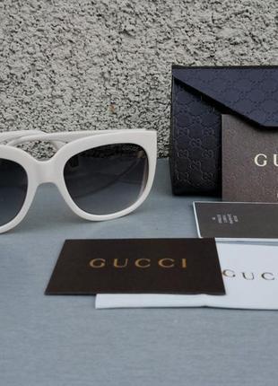 Gucci очки женские солнцезащитные молочные с боковыми линзами