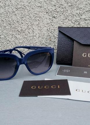 Gucci очки женские солнцезащитные синие с боковыми линзами