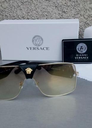 Versace очки женские солнцезащитные зеркальные с золотым напылением