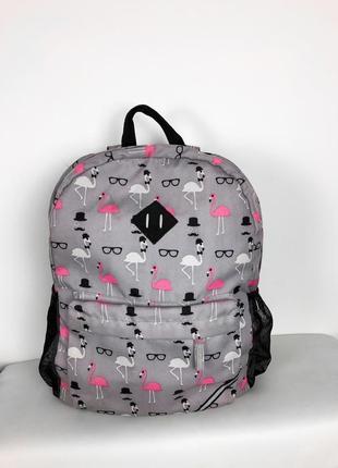Крутой большой вместительный рюкзак в принт фламинго