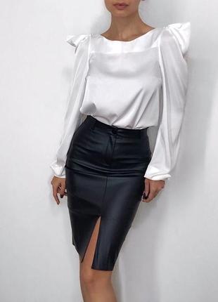 Стильная кожаная миди юбка2 фото