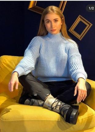 Укороченый свитер оверсайз голубой