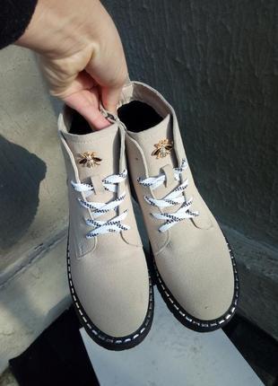Ботинки в стиле dr. martins замш с полупрозрачной подошвой