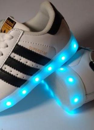 Лучший подарок! led белые кроссовки кеды ботинки со светящейся подошвой