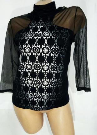 Flitwud блуза женская черная с белым с сеткой воротник стойка размер м