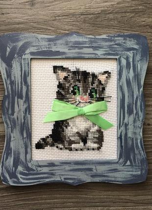 Картина вышивка крестом котенок
