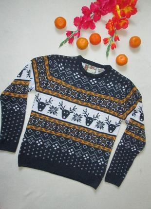Шикарный новогодний рождественский свитер в норвежский принт с оленями star clothing