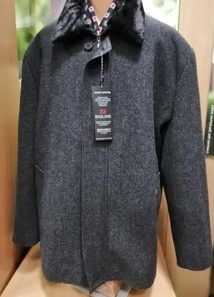 Мужское полупальто с подстежкой серого цвета, размер 60
