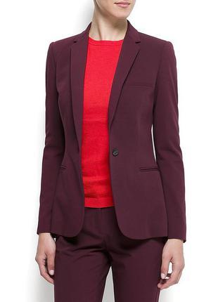 Баклажановый приталенный пиджак блейзер жакет