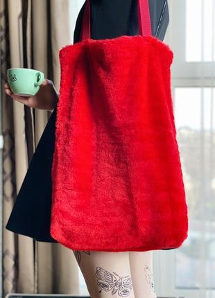 Эко сумка шоппер торба @don.bacon красная большая из эко-меха