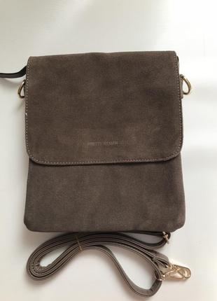 Женская сумка-планшет замшевая цвет кофе с молоком