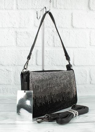 Мягкая, удобная сумочка gilda tohetti 581786 черная с замшевой вставкой, стразы