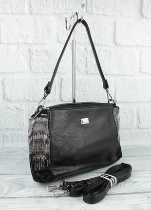 Мягкая, вместительная сумочка gilda tohetti 61966 черная с замшевой вставкой и стразами