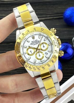 Чоловічий годинник daytona quartz white-gold
