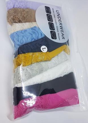 Комплект трусиков 10 штук / упаковка / набор кружевных хлопковых женских стрингов цветных