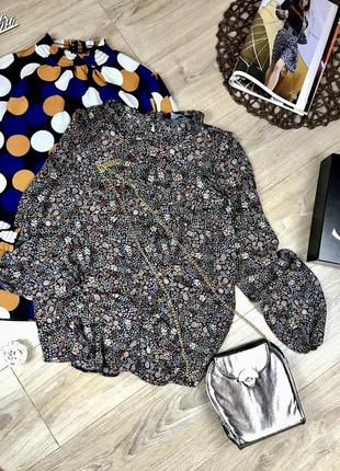 Скидка 🔥 блузка рубашка в мелкий цветок и с рюшами 😍