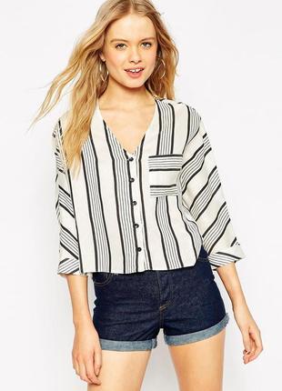 Красивая,укороченая рубашка,блуза свободного кроя в полоску,вискоза, asos
