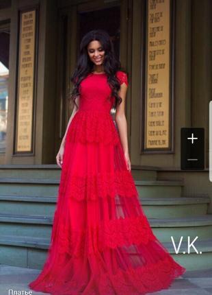 Вечернее дизайнерское красное кружевное платье в пол длинное миди с воланами