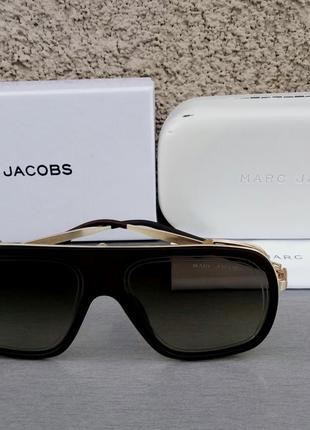 Marc jacobs очки маска женские солнцезащитные коричневые в золотой металлической оправе