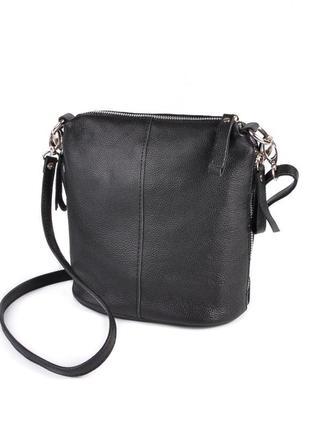 Черная кожаная сумка через плечо на молнии кроссбоди натуральная кожа