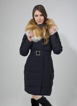 Зимнее пальто chiago  с огромным лисьим воротником