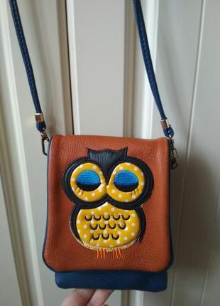 Класна невеличка крос боди сумочка,сумка сова