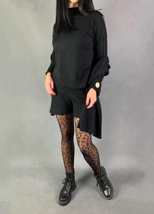 Костюм вязаный комплект тройка шорты/свитер/шарф