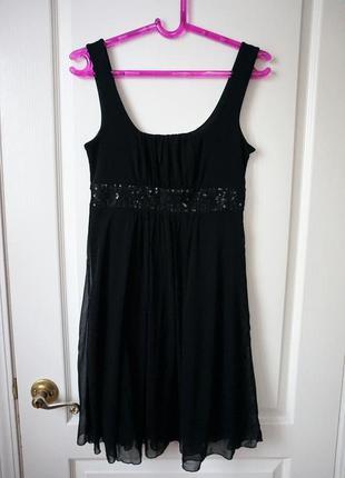 Вечернее / коктейльное платье с пайетками и фатином / маленькое черное платье