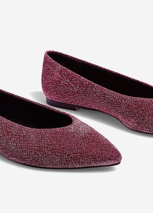 Стильные трендовые нарядные туфли балетки блестящие с люрексом