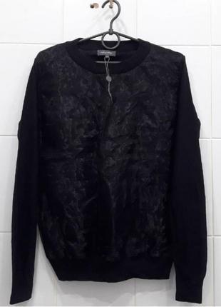 Классный нарядный легкий свитерок с вставкой из органзы спереди