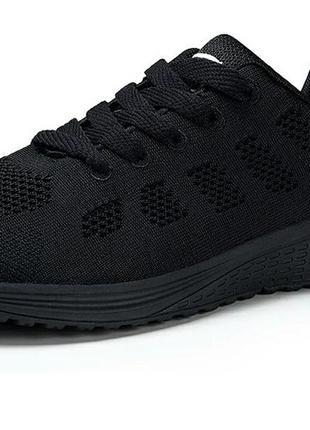 Черные легкие сетчатые кроссовки