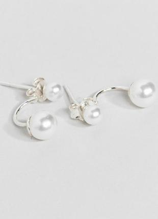 Срібні сережки перлини, серебряные серьги гвоздики с жемчугом kingsley ryan с сайта asos