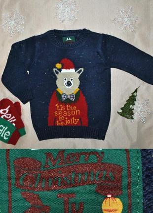 Новогодний свитер с сантой мишкой р.2-3года
