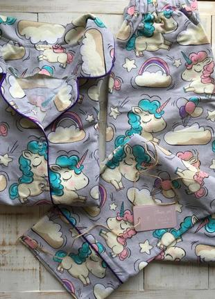 Фланелевая пижама с единорогами из 100% хлопка!