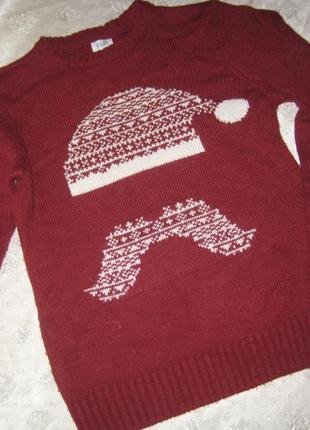Новогодний свитер с шапкой санта клауса деда мороза