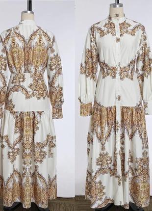 Шикарное бело золотое платье праздничное