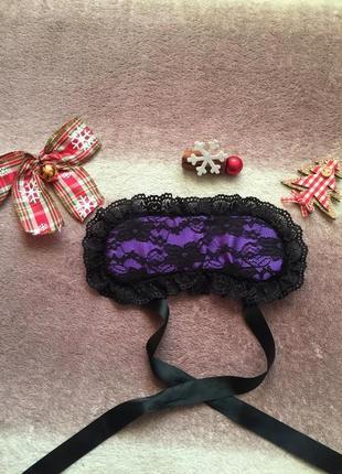 Маска повязка для сна с кружевом фиолетовая one size