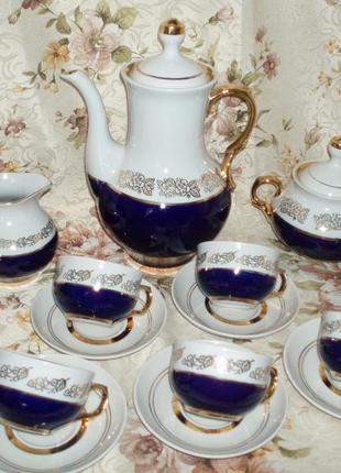 Фарфор сервиз 6 персон полонне 80 -е гг чашка блюдце чайник кобальт клеймо